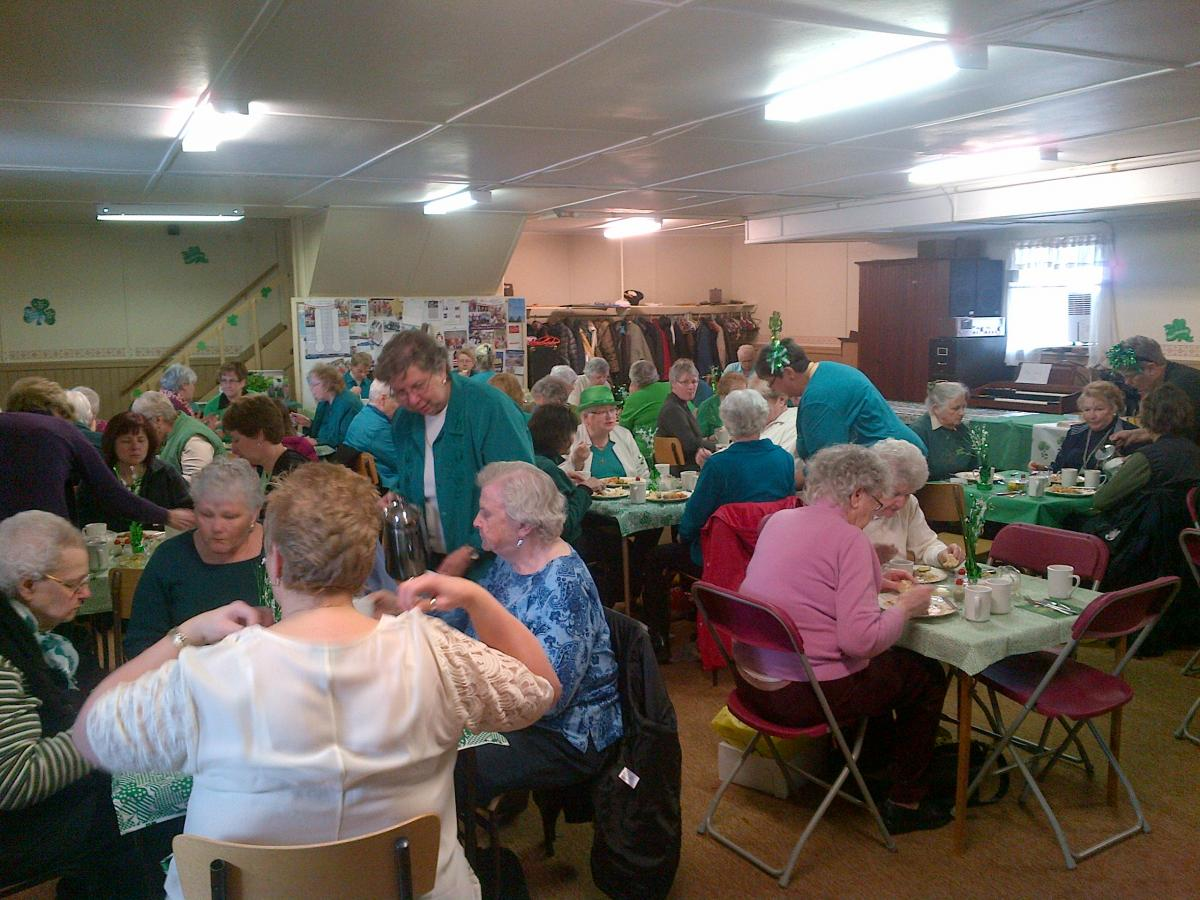 On Sat. Mar. 15, The Vernon WI hosted our Annual St. Patrick's Luncheon at the Presbyterian Church.  Our day was enjoyed by over 50 Ladies and Gentlemen.  We enjoyed various stews, told jokes, had a singalong with piano, flute and harp music, door prizes, and of course,  our infamous bake sale