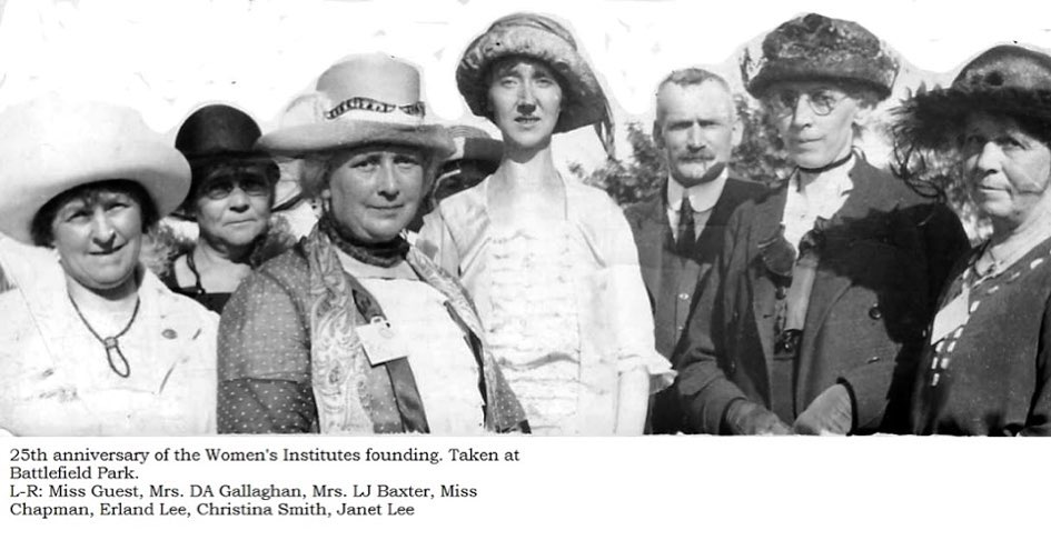 mage: Miss Quest, Mrs. D. A. Gallagher, Mrs. Baxter, Miss Chapman, Mr. Erland Lee, Mrs. E. D. (Christina) Smith, Mrs. Erland (Jante) Lee at the 25th anniversary of the WI at Battlefield, Stoney Creek